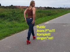 Public Jeans Piss!!! Komplett eingenässt!
