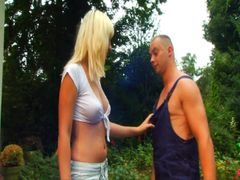HORNY BLONDE gives young gardener moist FACESITTING