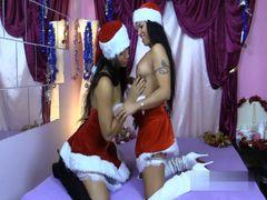 Geiles Bi-Girl-Duo Amanda und Carmela kommt zum Weihnachtsfick zu Dir
