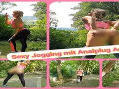 Sexy Jogging mit Analplug Action