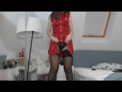 Neues rotes PVC-Vinyl  (Lack) Kleid