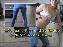 XXL Jeans-Piss und Selbstbefriedigung in durchnässter Jeans