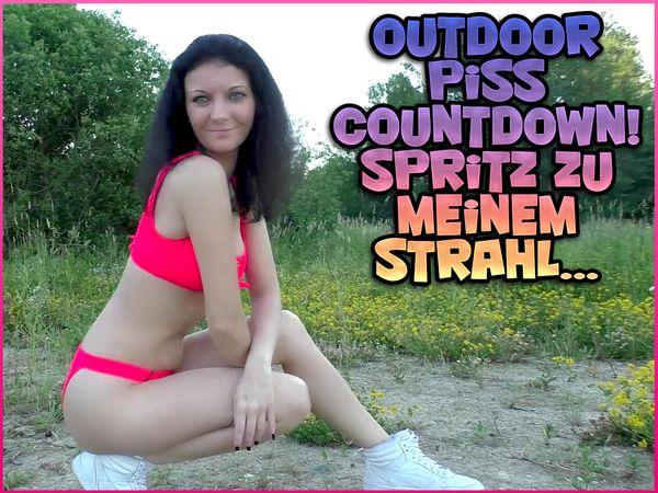 Outdoor piss countdown! Cum to my jet ...