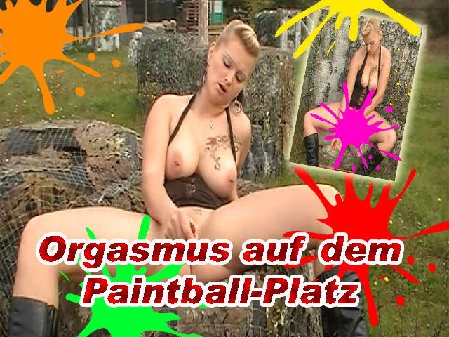 Geiler Orgasmus auf dem Paintball-Platz