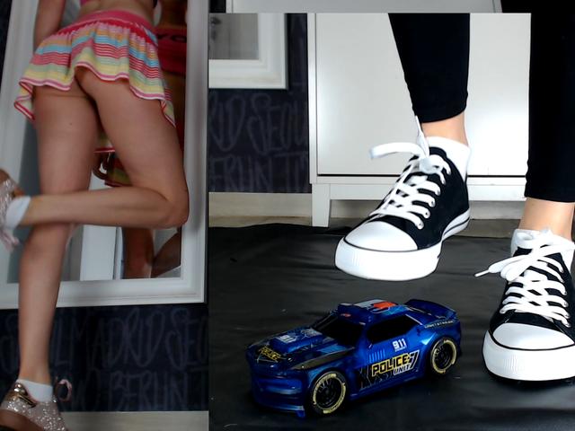 Zerstörung Spielzeugauto in verschiedenen Outfits
